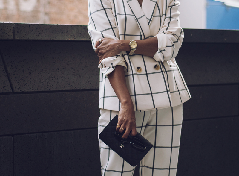 rachel roy collection cream check suit detail