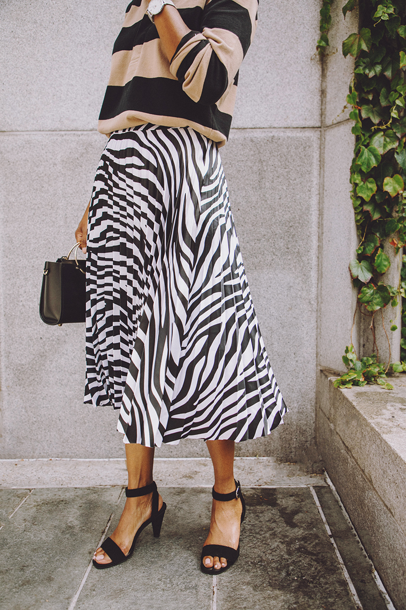 jadore couture zebra print pleated skirt black ankle strap sandals