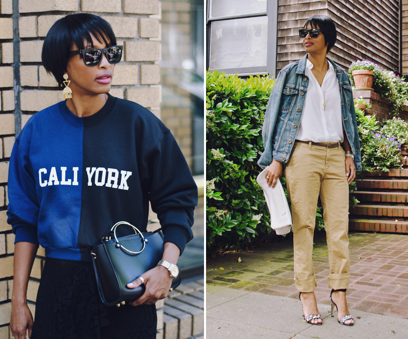 cynthia rowley cali/york sweatshirt gap chinos madewell denim jacket