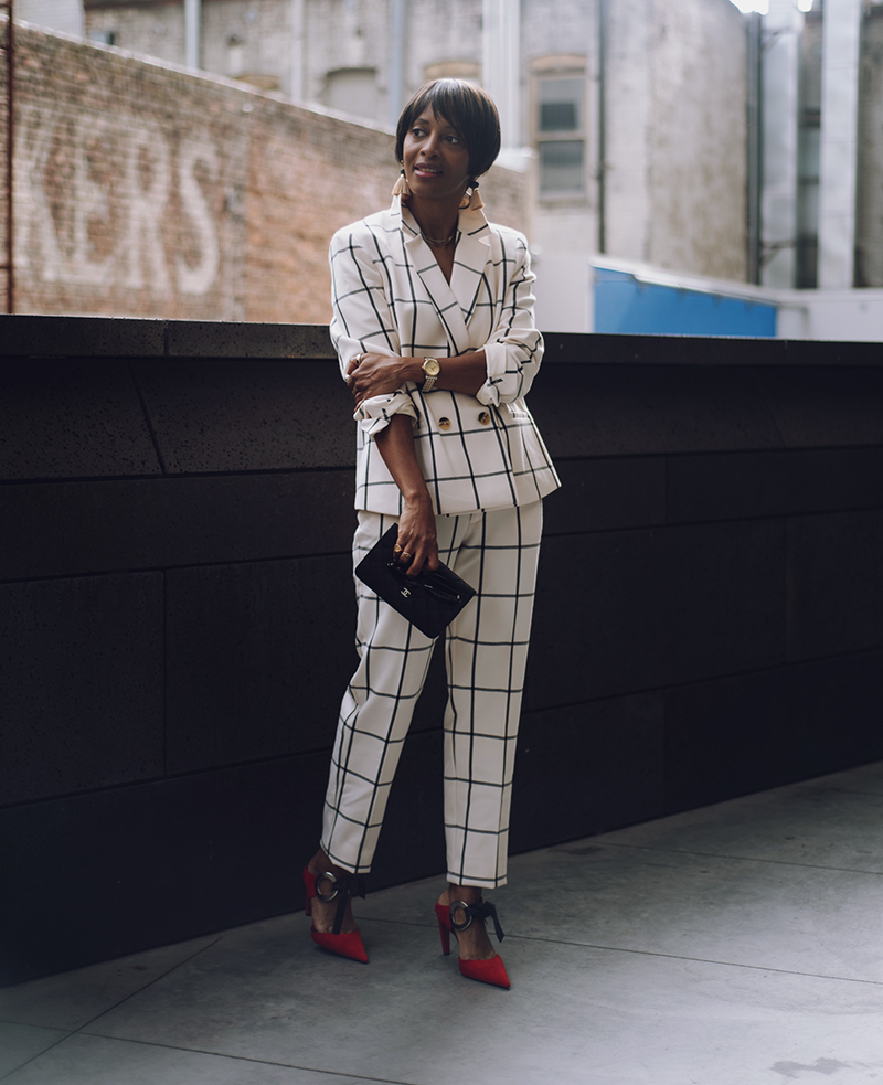 rachel roy check suit proenza schouler red mules