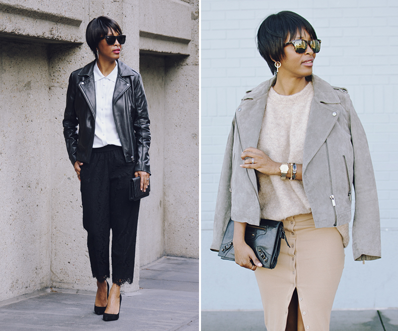 all saints leather jacket jcrew lace pant mango suede jacket
