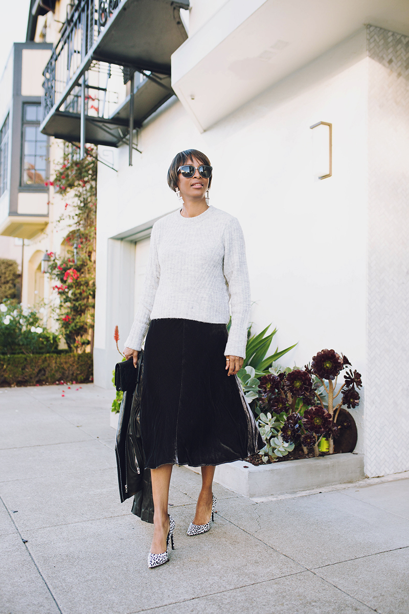 heather gray ribbed sweater velvet midi skirt