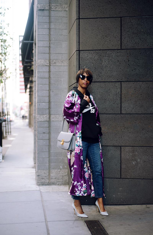 purple silk kimono celine box bag