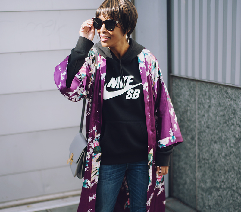 purple silk floral kimono nike skateboarding hoodie celine box bag