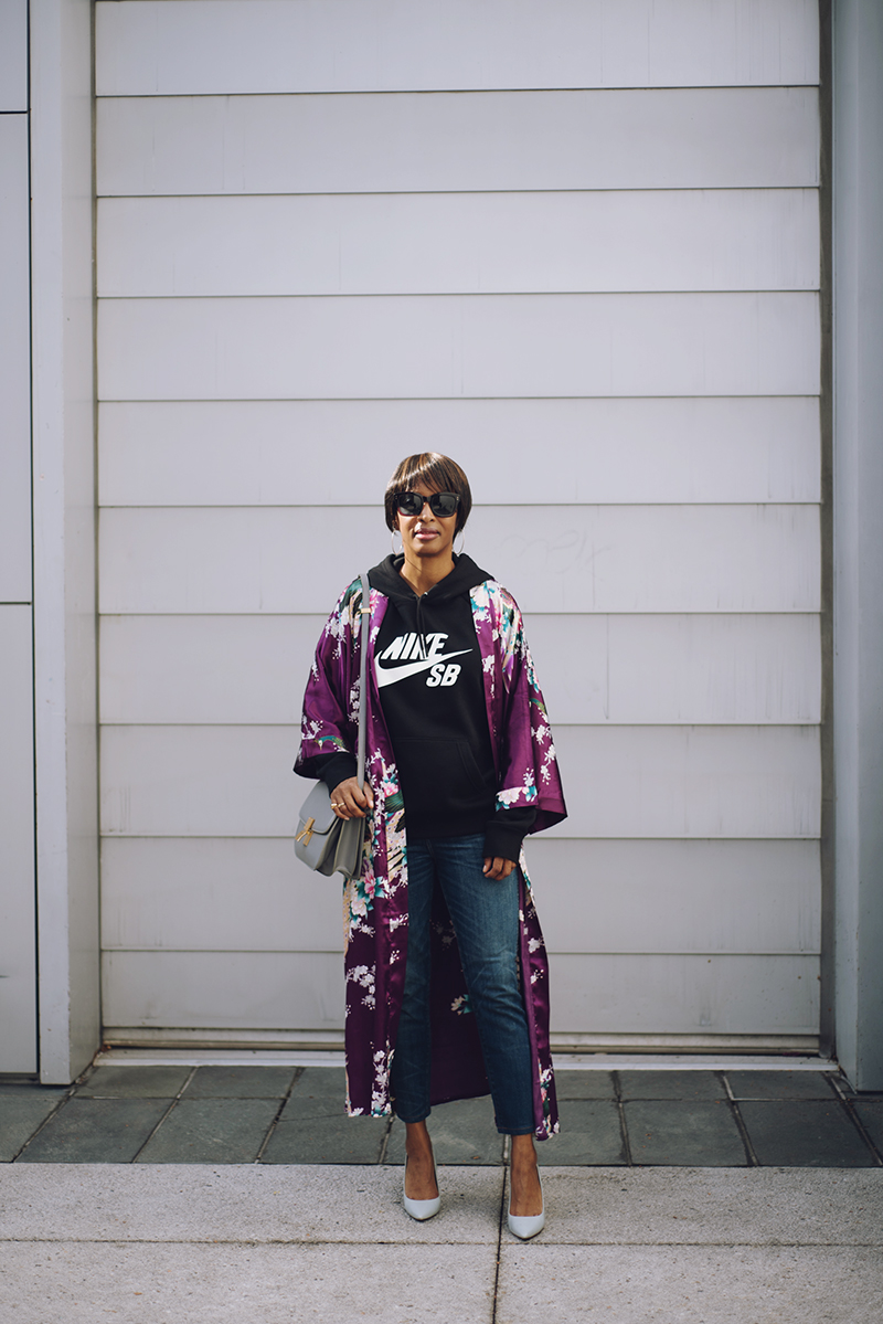 kim and ono purple silk floral kimono nike skateboarding hoodie
