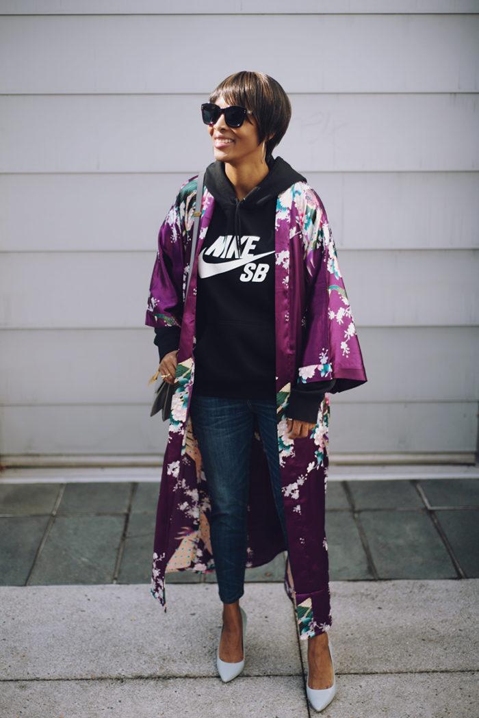 purple floral silk kimono nike black hooded sweatshirt blue pumps
