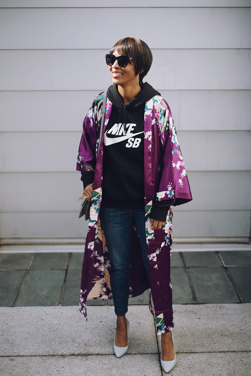 purple floral silk kimono nike black hooded sweatshirt blue pumps