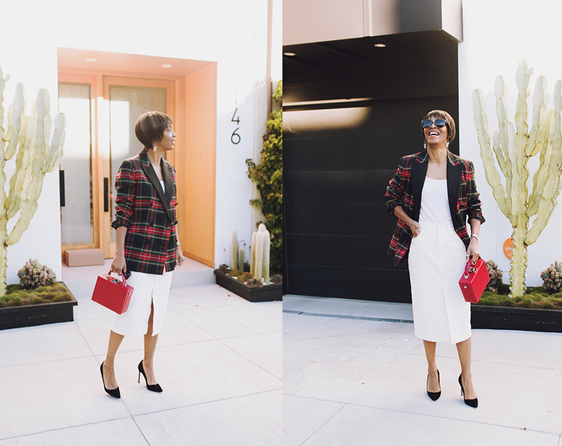 jadore couture red plaid blazer white twill midi skirt black suede pumps