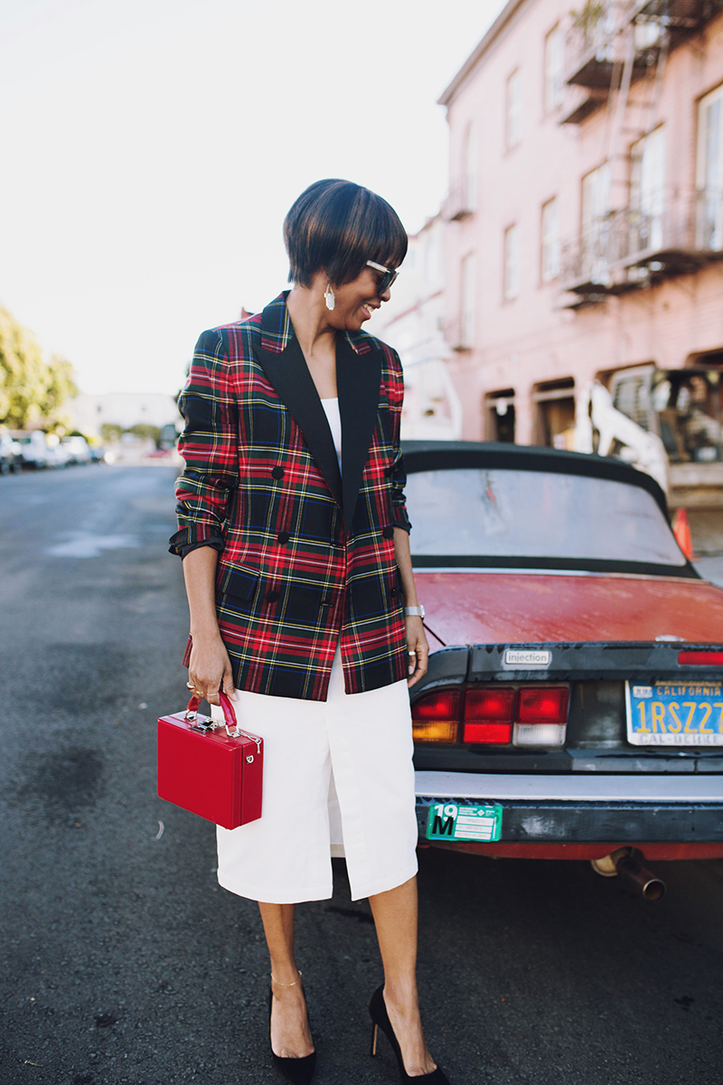 jadore couture red convertible red plaid blazer red box bag