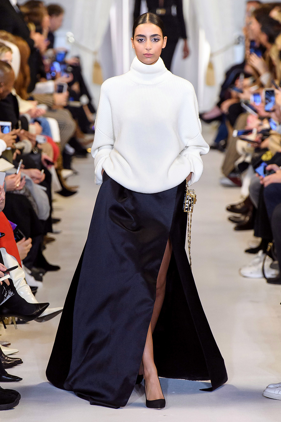 brandon maxwell fall 2019 collection ny fashion week white chunky turtleneck sweater black satin maxi skirt