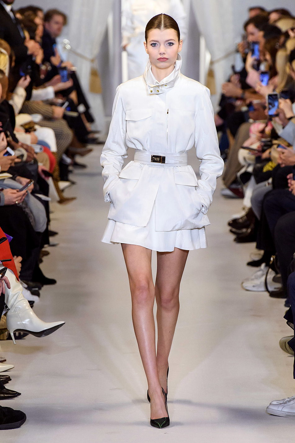 brandon maxwell fall 2019 new york fashion week white belted army jacket white mini skirt