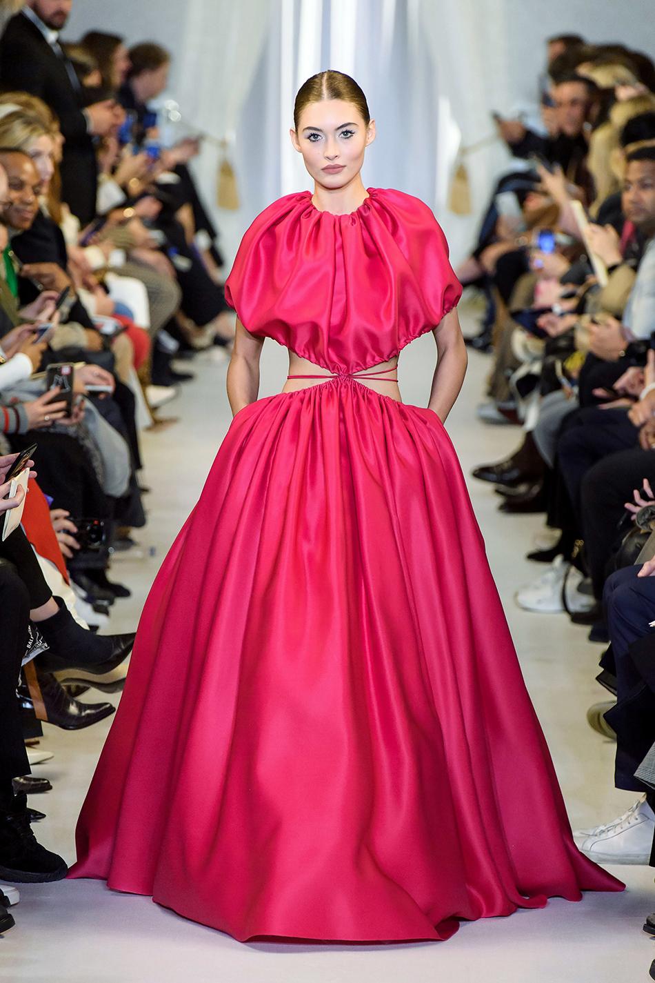 brandon maxwell fall 2019 collection ny fashion week fuschia gown midriff cutout