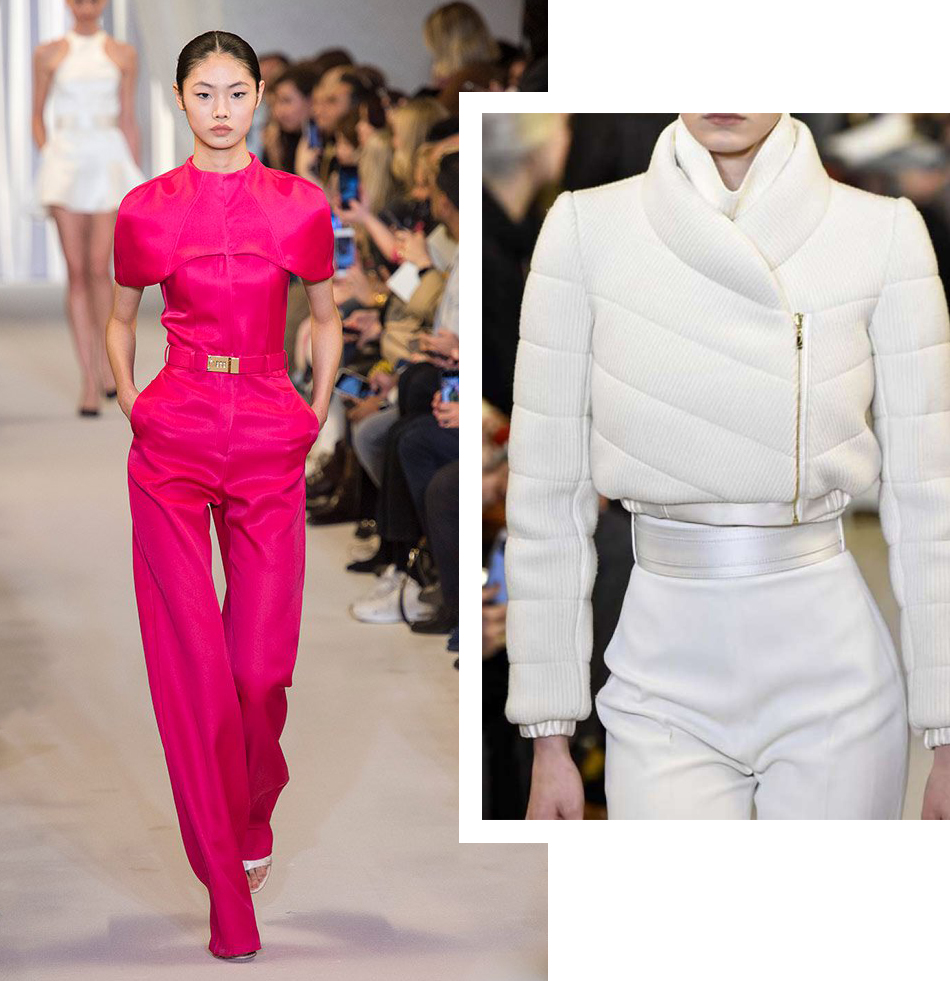 brandon maxwell fall 2019 collection ny fashion week fuschia jumpsuit white cropped puffer jacket