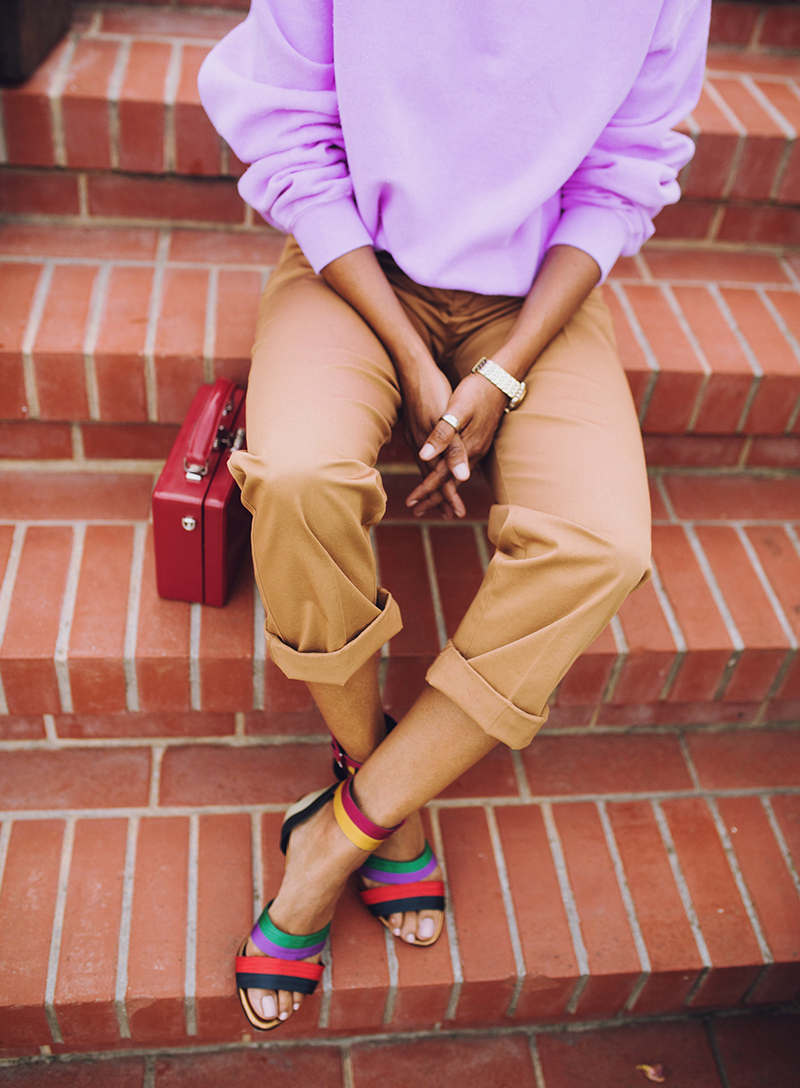 cuffed khakis multicolor striped grosgrain sandals