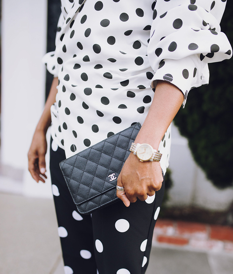 black caviar chanel wallet on chain black and white polka dot look