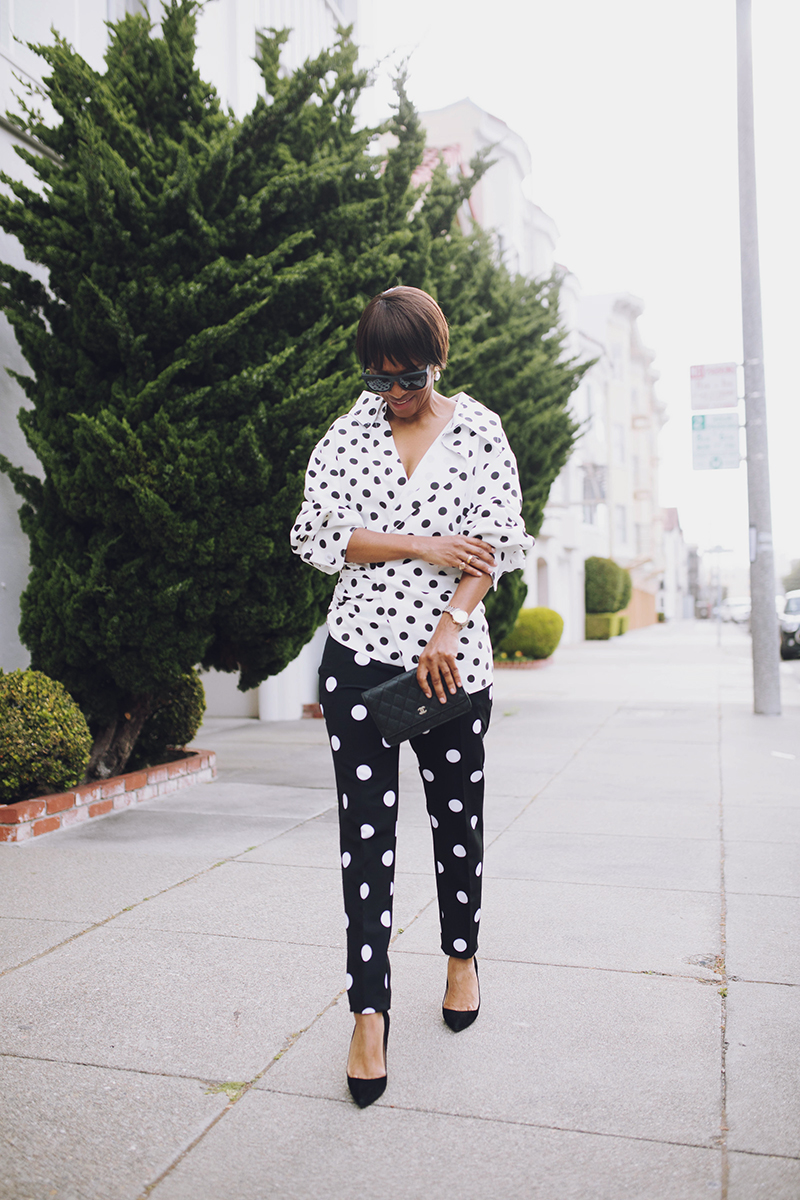 san francisco marina district black and white polka dot look