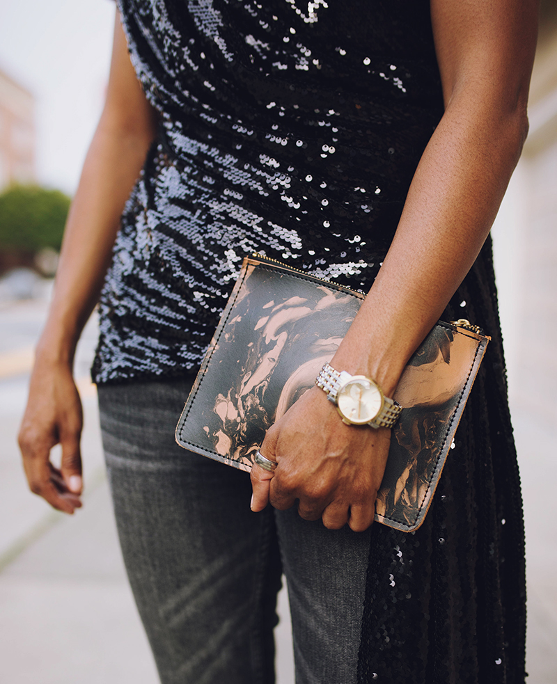 sequin top marbled clutch two toned watch
