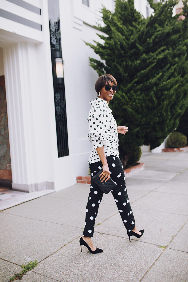 white polka dot shirt black slim polka dot pants manolo blahnik suede pumps