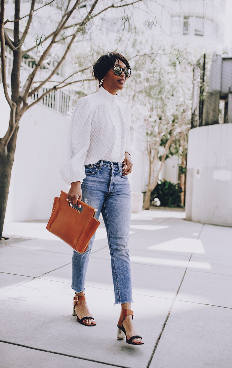 classic neutral spring look distressed jeans
