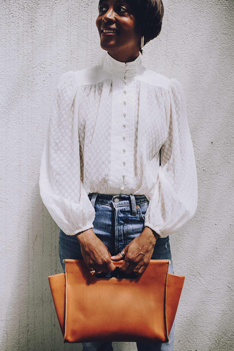 graphic image white sheer dotted blouse with high neckline