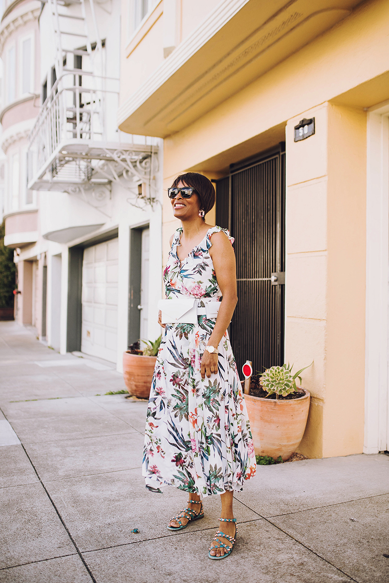 dress barn white floral maxi dress