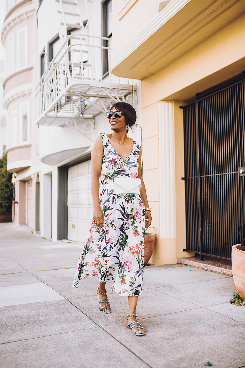 white maxi dress dark flowers san francisco marina district