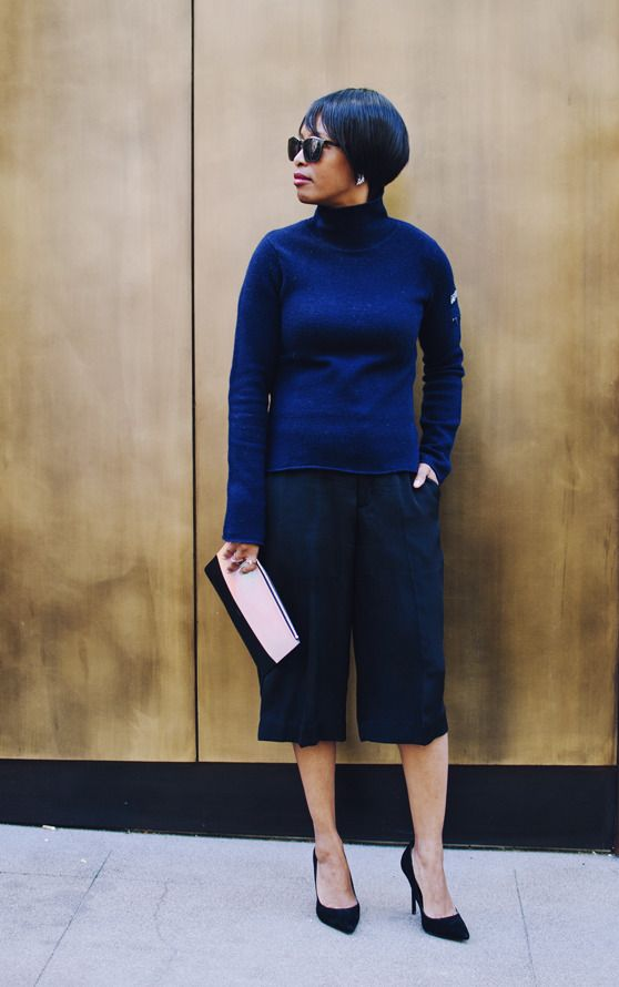 navy turtleneck black culottes celine clutch