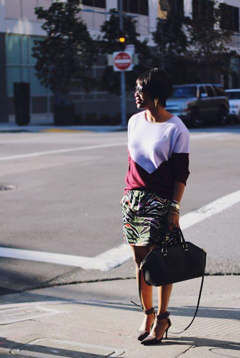 j crew colorblock cashmere sweater balenciaga skirt