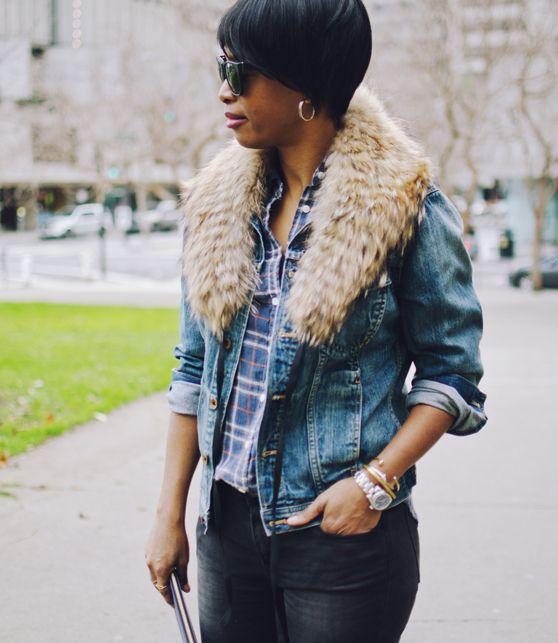 denim jacket fur collar black jeans