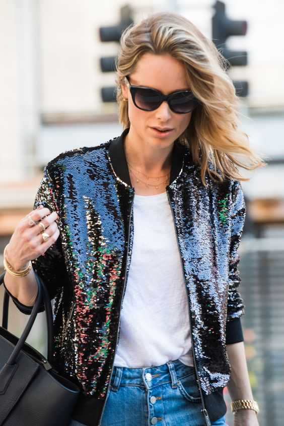 anine bing black sequin bomber jacket