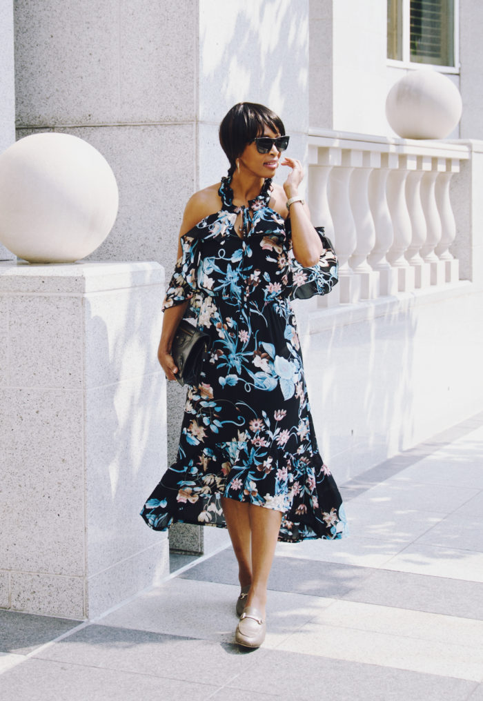 floral ruffled off the shoulder dress