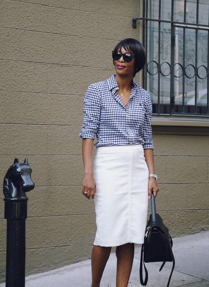 black white gingham shirt white skirt