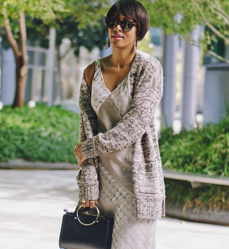tweed cardigan velvet slip dress