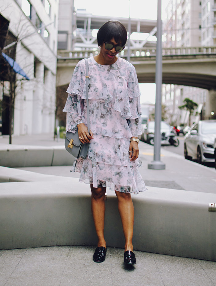 floral ruffled dress gray bag