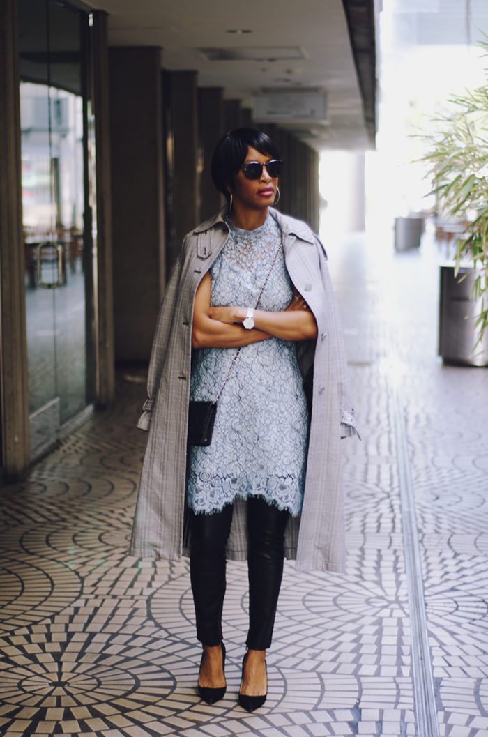 black and white plaid trench lace dress