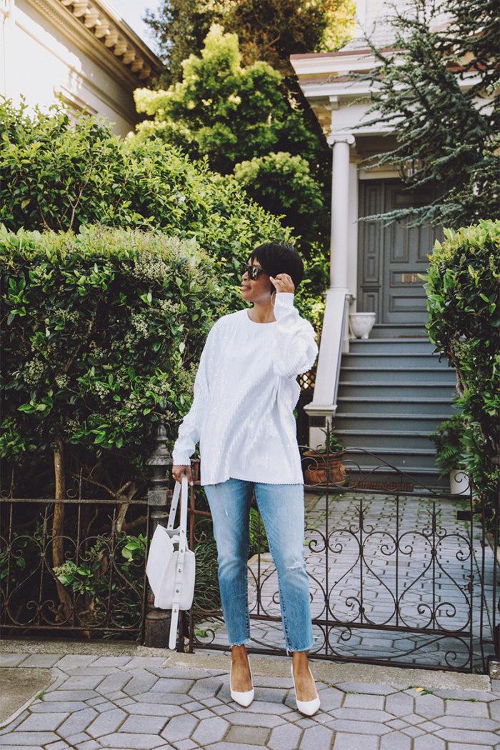 white sequin top white pumps white handbag