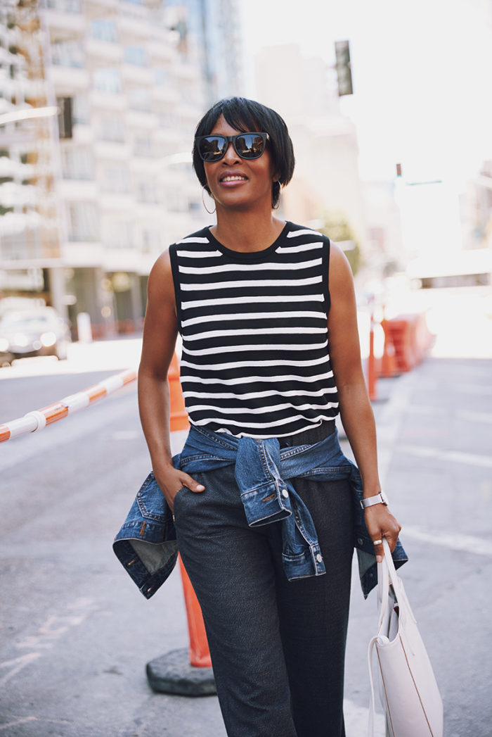 black striped sleeveless sweater denim jacket