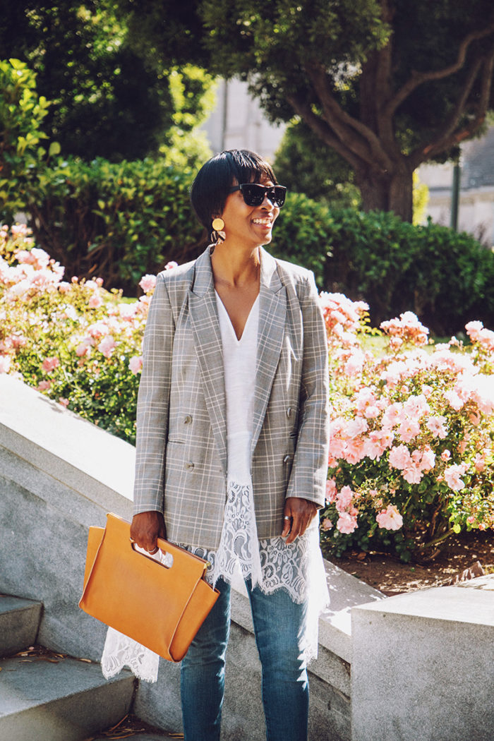plaid double breasted blazer tan clare vivier clutch