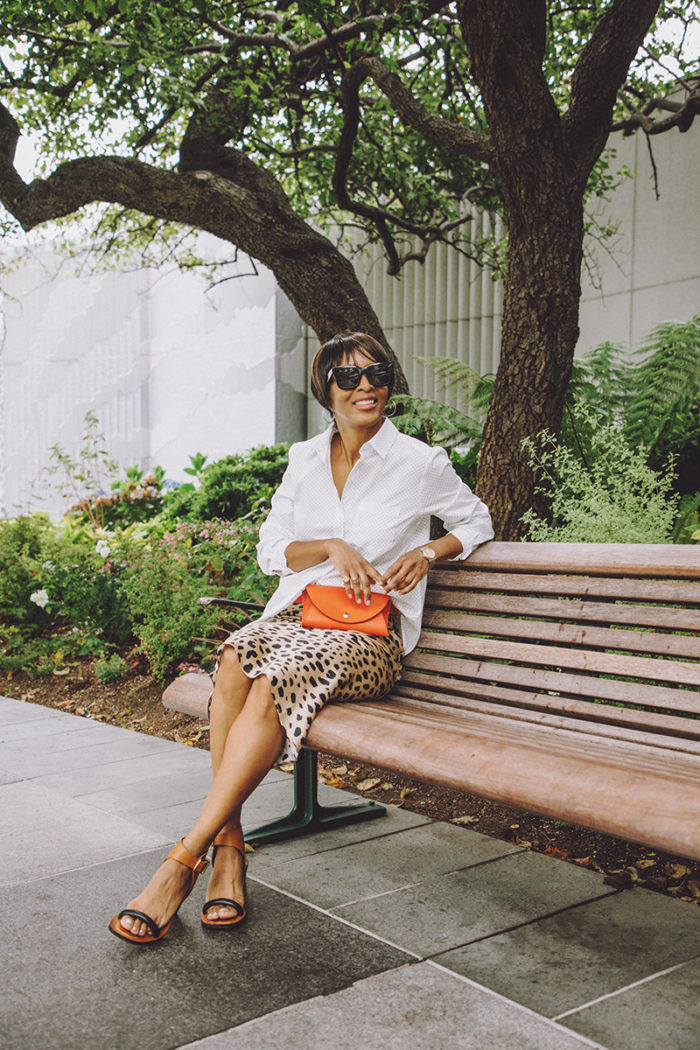 polka dot shirt leopard print skirt mixed print look