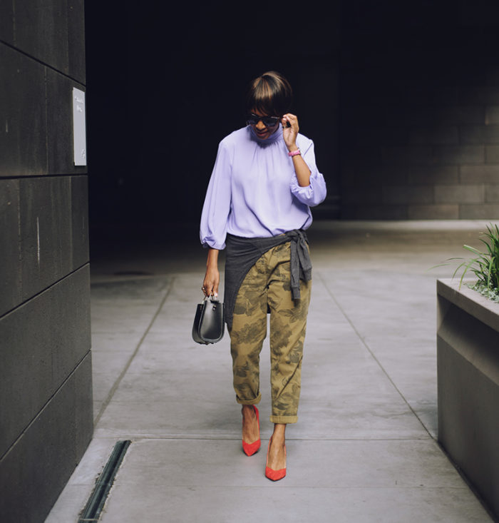lilac prologue for target top olive camo pants red suede pumps
