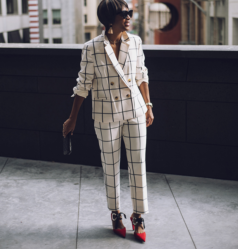 rachel roy collection check suit proenza schouler mules