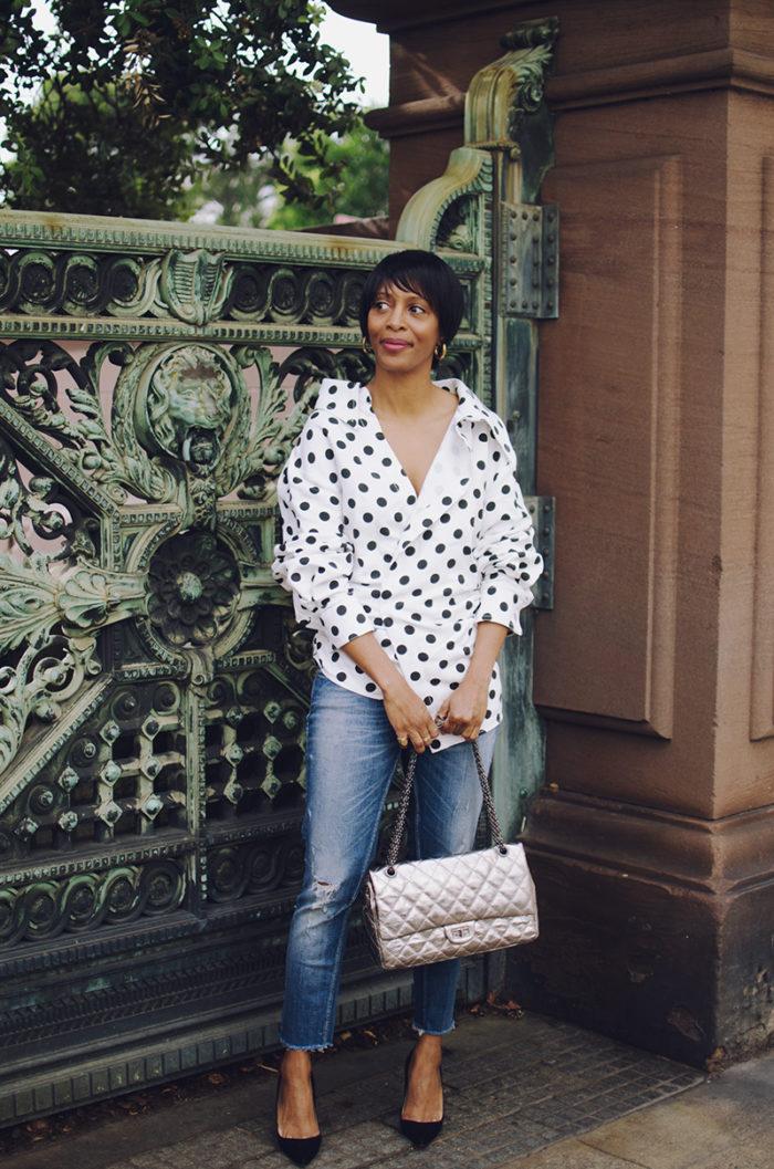 jadore couture jacquemus polka dot shirt chanel silver metallic reissue