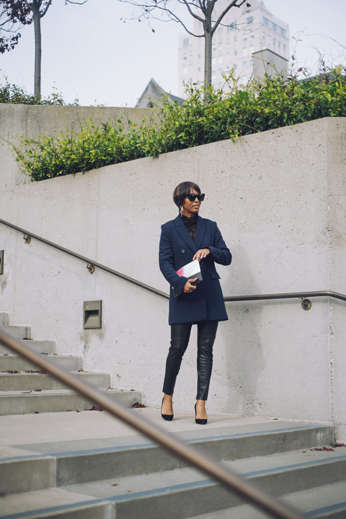 jadore couture halogen nordstrom navy blazer leather pants manolo blahnik black suede pumps