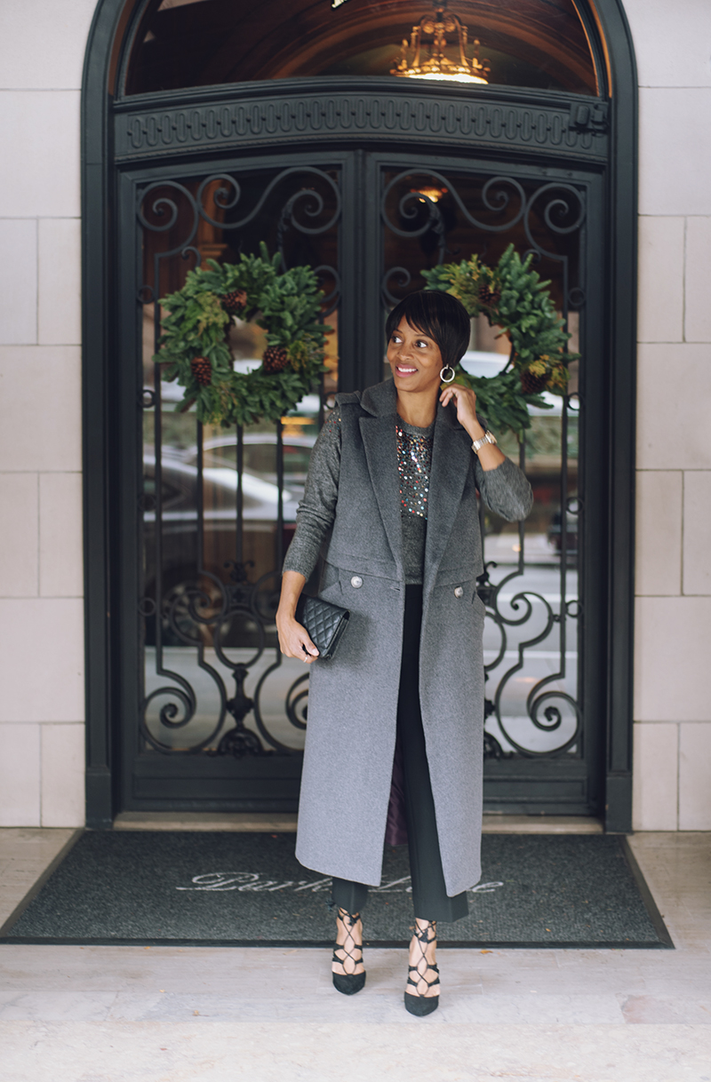 jadore couture gray sleeveless coat chanel wallet on chain black lace up heels