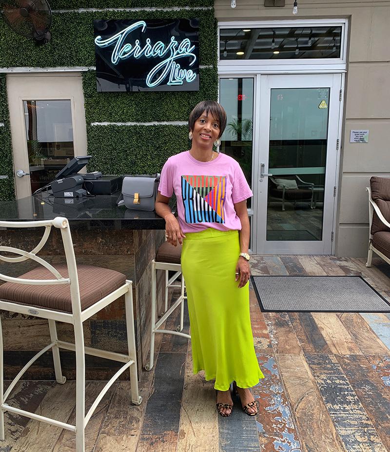 lime green slip skirt pink graphic t-shirt