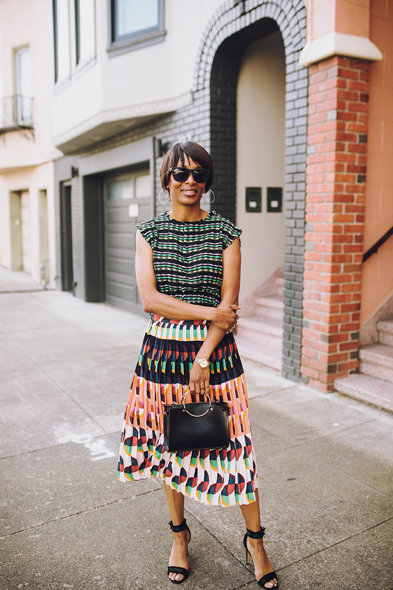 j. crew pleated midi skirt proenza schouler tweed top
