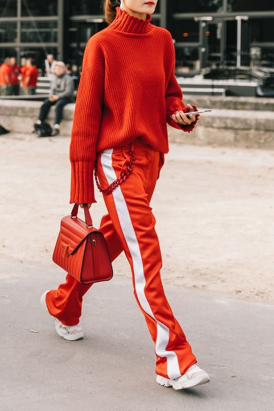 monochromatic outfit all red track pants