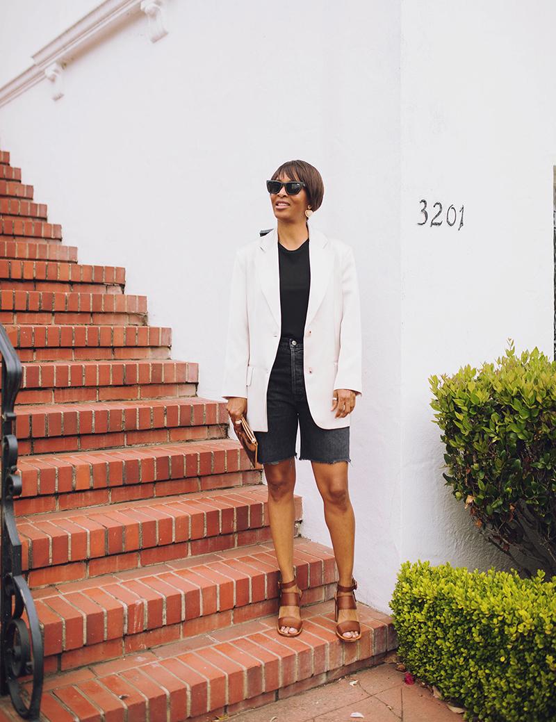 pixie market beige silky blazer reformation denim bermuda shorts