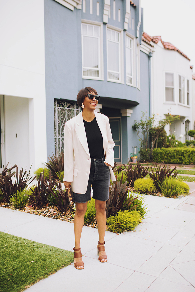reformation washed black denim bermuda shorts pixie market beige silky blazer black bodysuit
