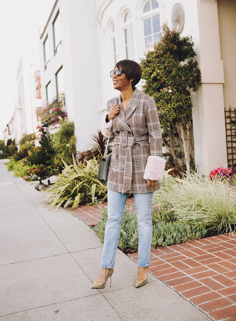 plaid blazer sarah flint perfect pump